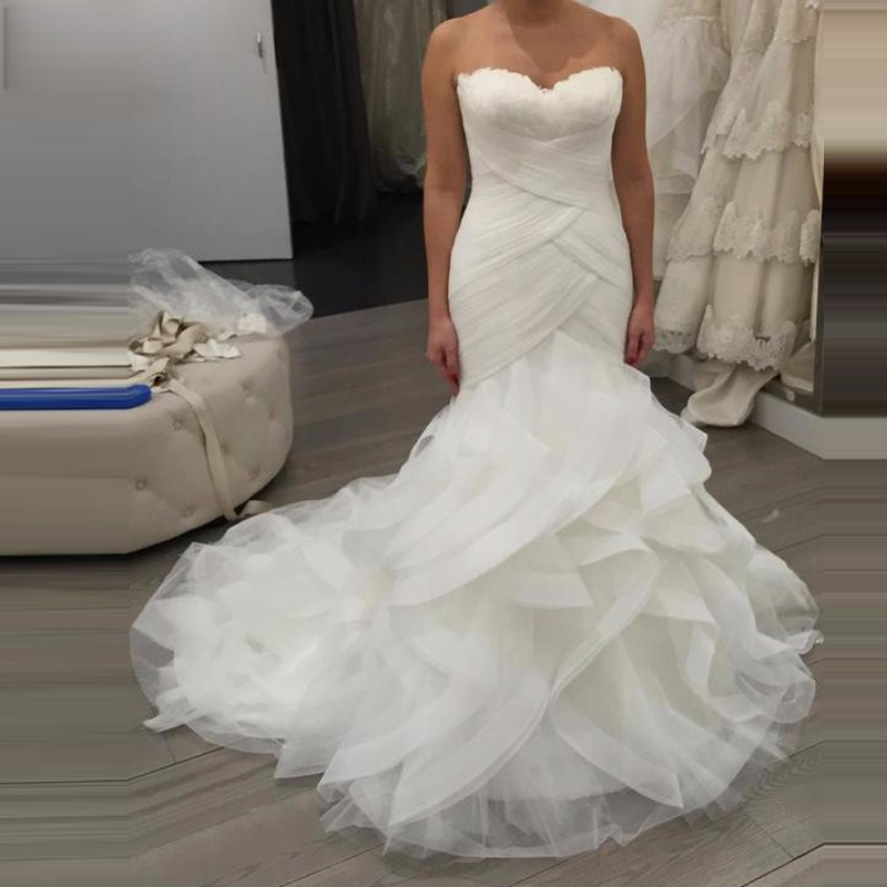 Arabia New Mermaid Wedding Dress 2016 Feathers Ruffle Bridal Gown Long Train Vstido De Casamento Wedding Dressess