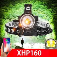 Новый XHP160 мощные светодиодные фары Перезаряжаемые Usb фара светильник XHP90 18650 головной светильник светодиодный рыбалки охоты зум головки всп...