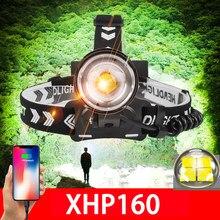 NUEVO XHP160 Potente faro Led Recargable Usb Head Lámpara de luz XHP90 18650 Faro Led Pesca Caza Zoom Head Linterna