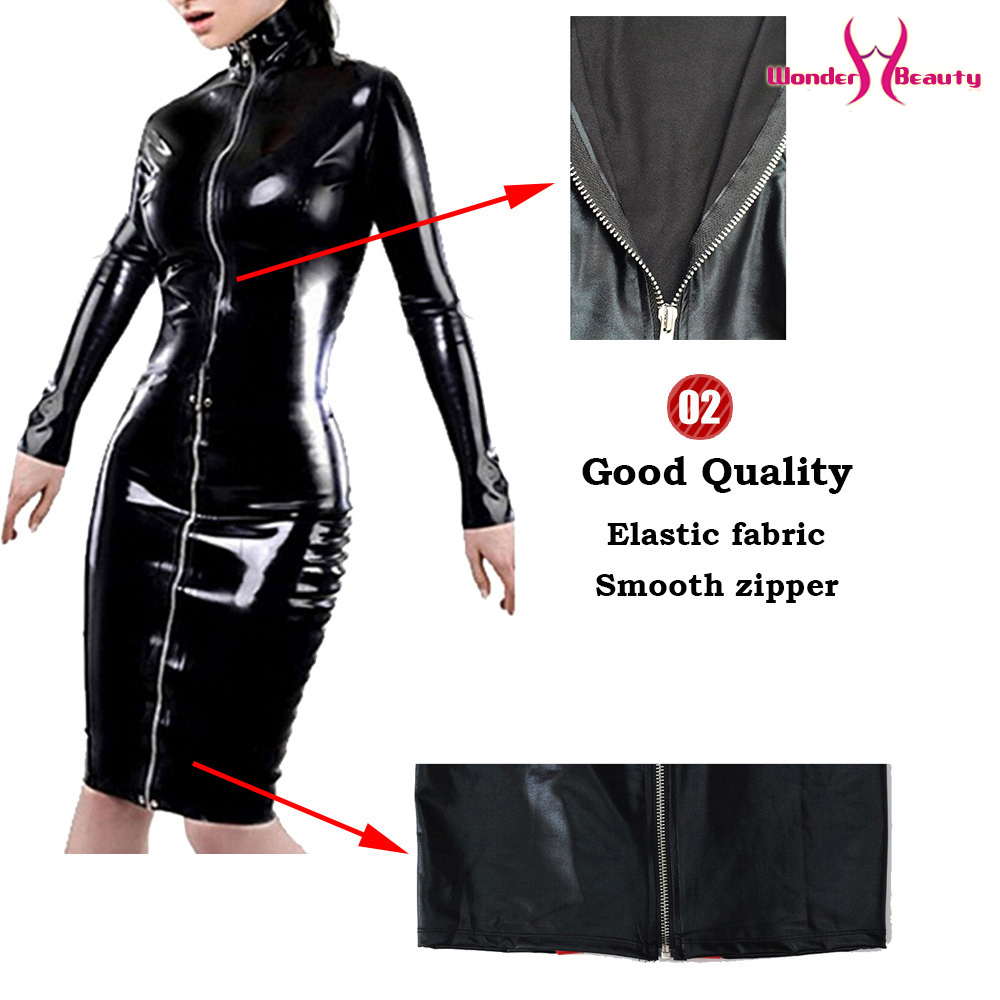 leather pencil dress sexy black pvc leather gothic midi dress lace up bondage latex clubwear long zipper wetlook vinyl dresses (8)