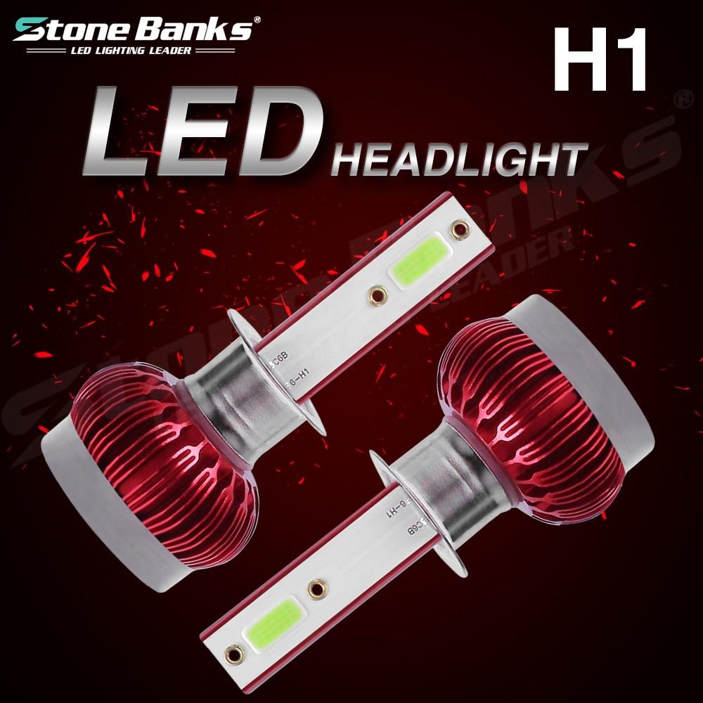 Stone Banks H1 LED Car Headlight Bulb 20000 Lumen Super Led Light Bulbs For Auto 80W 2 Side COB Turbo Fog Lamp 12V 24V