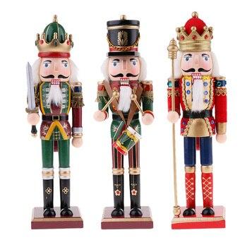 3Pcs/Lot 30cm Wooden Nutcracker Figurine Christmas Ornaments Decoration Dolls Colorful Hand Painted Vintage Design Desk Decor