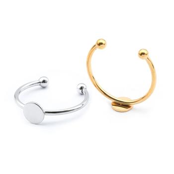 10 sztuk ze stali nierdzewnej regulowane płaskie koło Pad Bezel pierścień baza okrągły 4mm 6mm Blanks akcesoria dla Diy pierścienie tworzenia biżuterii tanie i dobre opinie CN (pochodzenie) 0 85g Ustawienia dzwonka 2 1cm cabochon ring base setting linki do biżuterii Metal STAINLESS STEEL 0 6cm