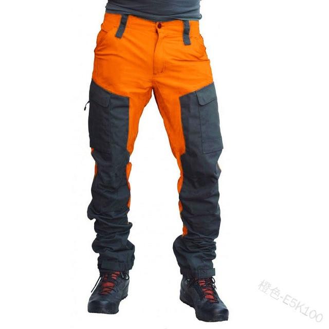 SCIONE Casual Men Fashion Color Block Multi Pockets Sports Long Cargo Pants Work Trousers for Men 3