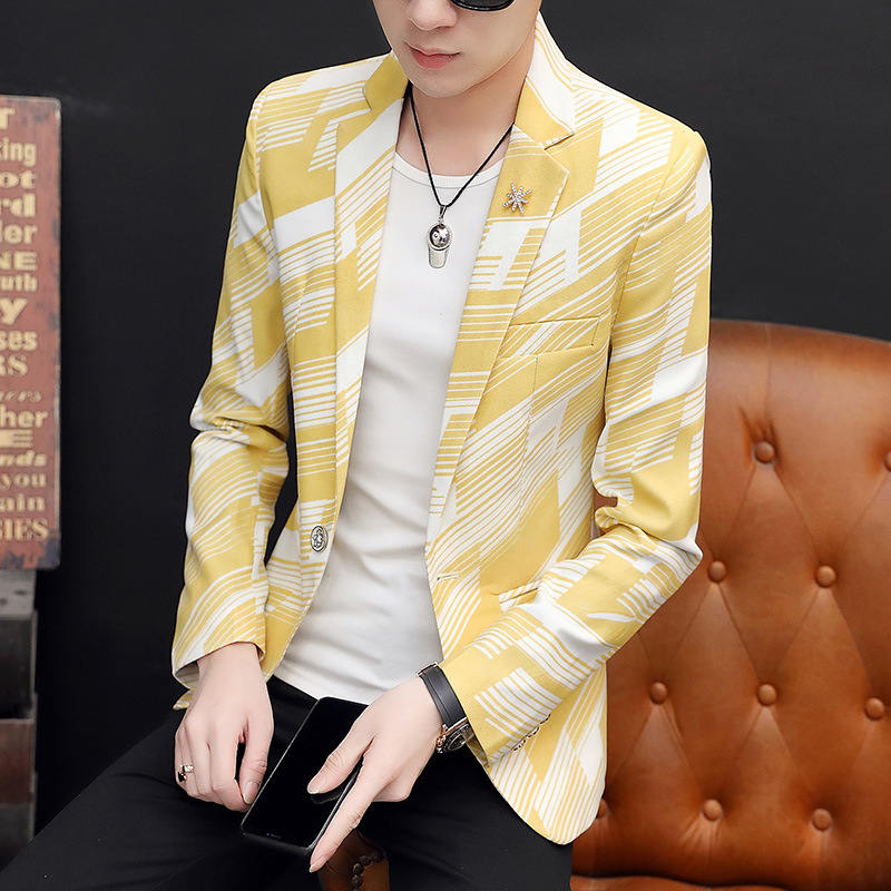 2020 Men Casual Twill Printed BLAZERTeenager Spring New Style Colorful BLAZER