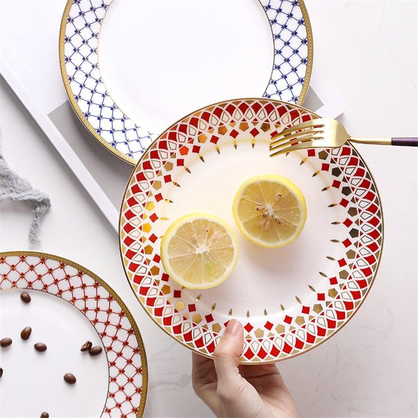 Europe Western assiettes de luxe en céramique ménage vaisselle nourriture fruits Steak pâtes assiettes cuisine plats décoration de la maison