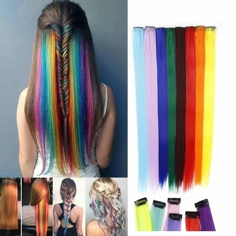 55cm Long Straight Colorful Hair Extensions Clip in Highlight Rainbow Hair Streak Synthetic Hair Strands On Clips Hair Braids
