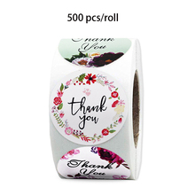 500 pcs/roll flower stickers thank you seal labels for Valentine's gifts, stationery decoration sticker