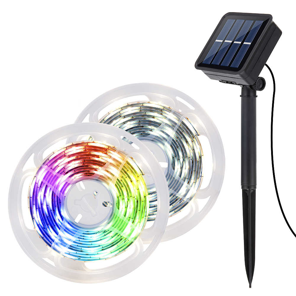 Tira de luces solares de 9,8 pies, guirnalda de luces 90led, lámpara alimentada por energía Solar para decoración de jardín, iluminación exterior para Patio