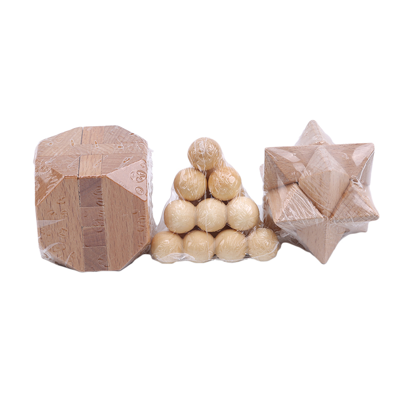 3 PCS/Set Adult Wooden Puzzle Lock Toy Kong Ming Lock Lu Ban Lock Wooden Boxed Three-piece Jupiter Pyramid Tetradecahedron