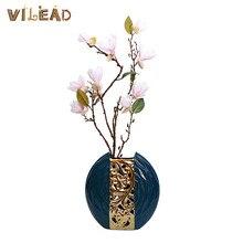 VILEAD 18cm Ceramic Vase Nordic Dark Green Pots for Flowers Wine Cabinet TV Cabinet Decorations Home Living Room Furnishings