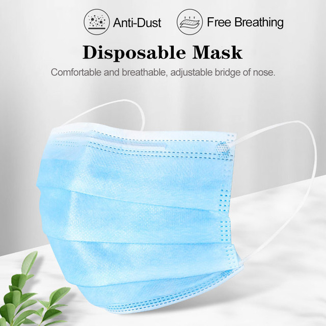 100pcs Mask Disposable Nonwove 3 Layer Ply Filter Mask mouth Face mask filter safe Breathable Protective masks Fast Shipping 1