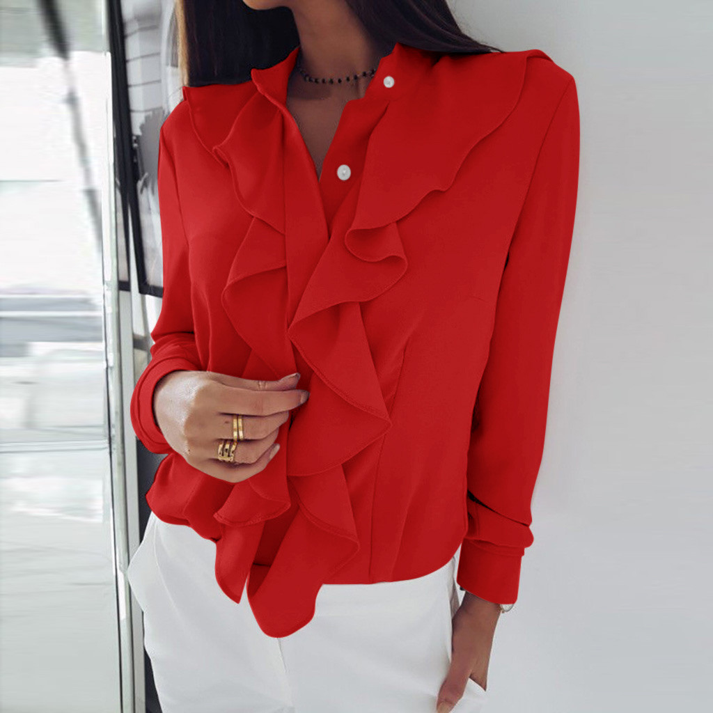 Blouse Women Long Sleeve Blouse Ruffle Front Shirt Ladies Office Plus Size Womens Tops And Blouse Sropa Mujer блузка женская
