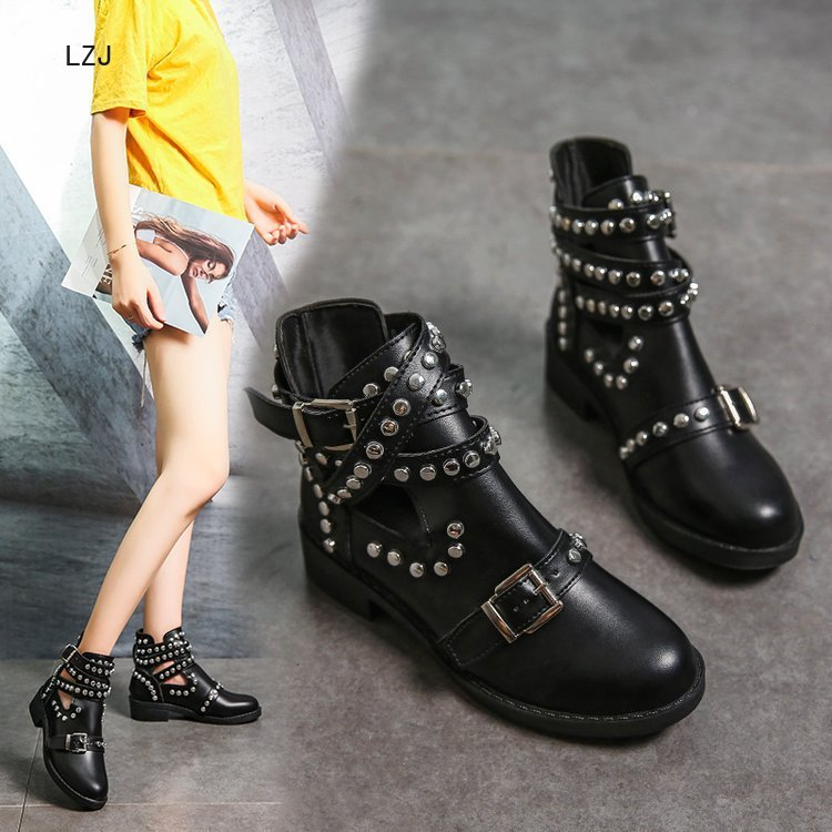 LZJ 2020 Buckle Ankle Boots For Women PU Leather Fashion Rivet Low Heel Shoes Women Motorcycle Boots Autumn Women Martin Boots 1