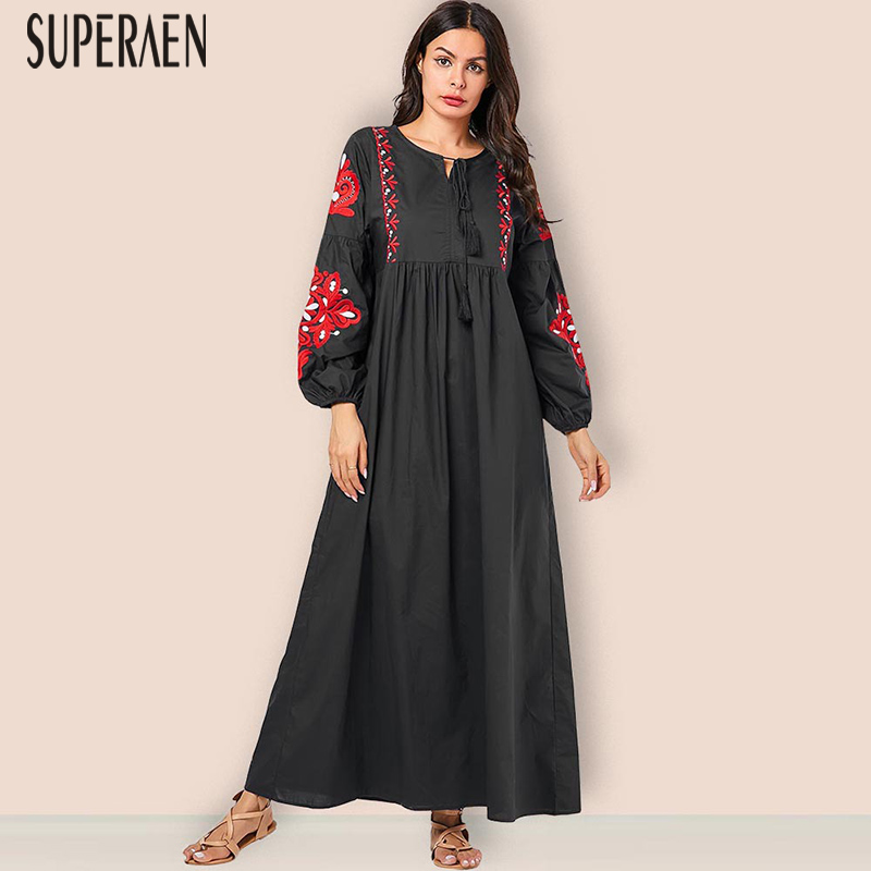 SuperAen Fashion Pluz Size Women's Long Dress Cotton Casual Fashion Ladies Dress Embroidered Long-sleeved Autumn New 2019