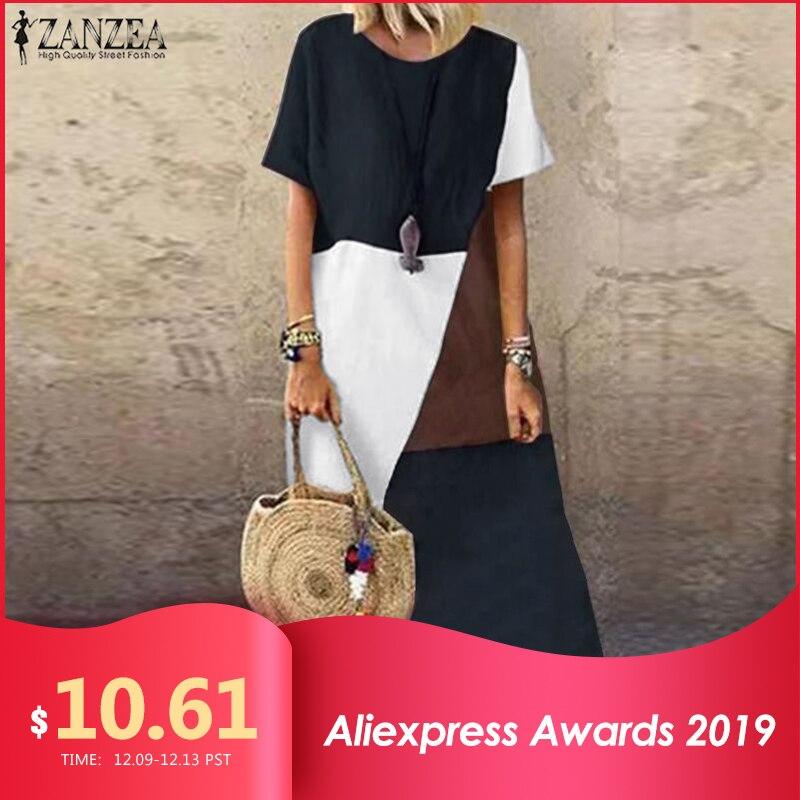 2019 ZANZEA Summer Pacthwork Dress Women Short Sleeve Sundress Vintage Cotton Linen Vestido Robe Femme Party Loose Dresses 5xl 7
