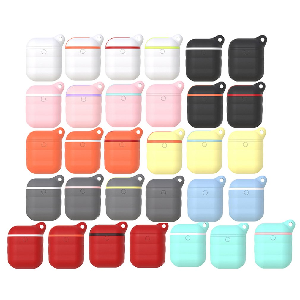 Waterproof Silicone Case with Anti-lost Carabiner Shockproof Wireless Earphone Protective Cover For Apple for AirPods