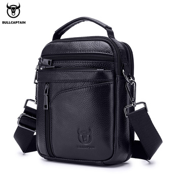 BULLCAPTAIN  New Men Bag Genuine Leather Man Brand Crossbody Shoulder Bag Small Business Bags Male Messenger Leather Bags bullcaptain 019 genuine leather bag men chest pack travel brand design sling bag business shoulder crossbody bags for men