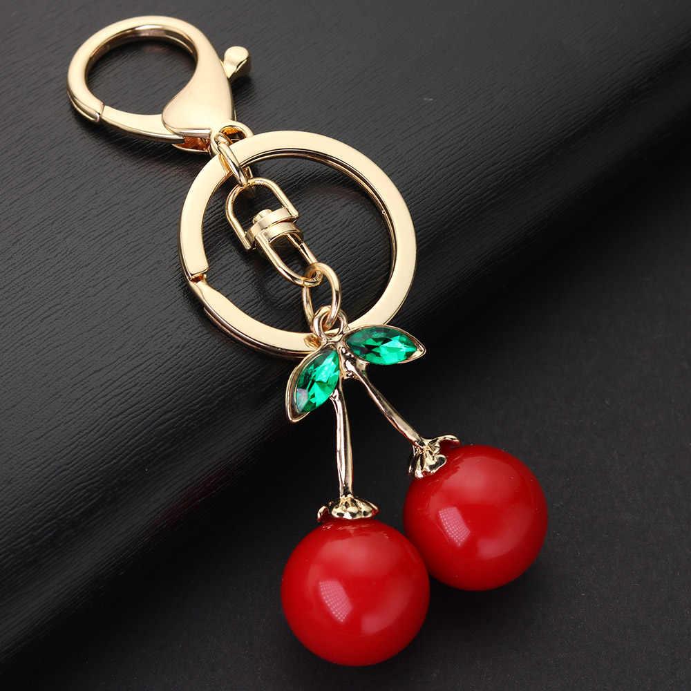 Vermelho Cereja Keychain Chaveiro Saco Pingente de Acessórios de Cristal Rhinestone Bonito da Fruta Fêmea Chaveiro Anel Titular Jóias K401