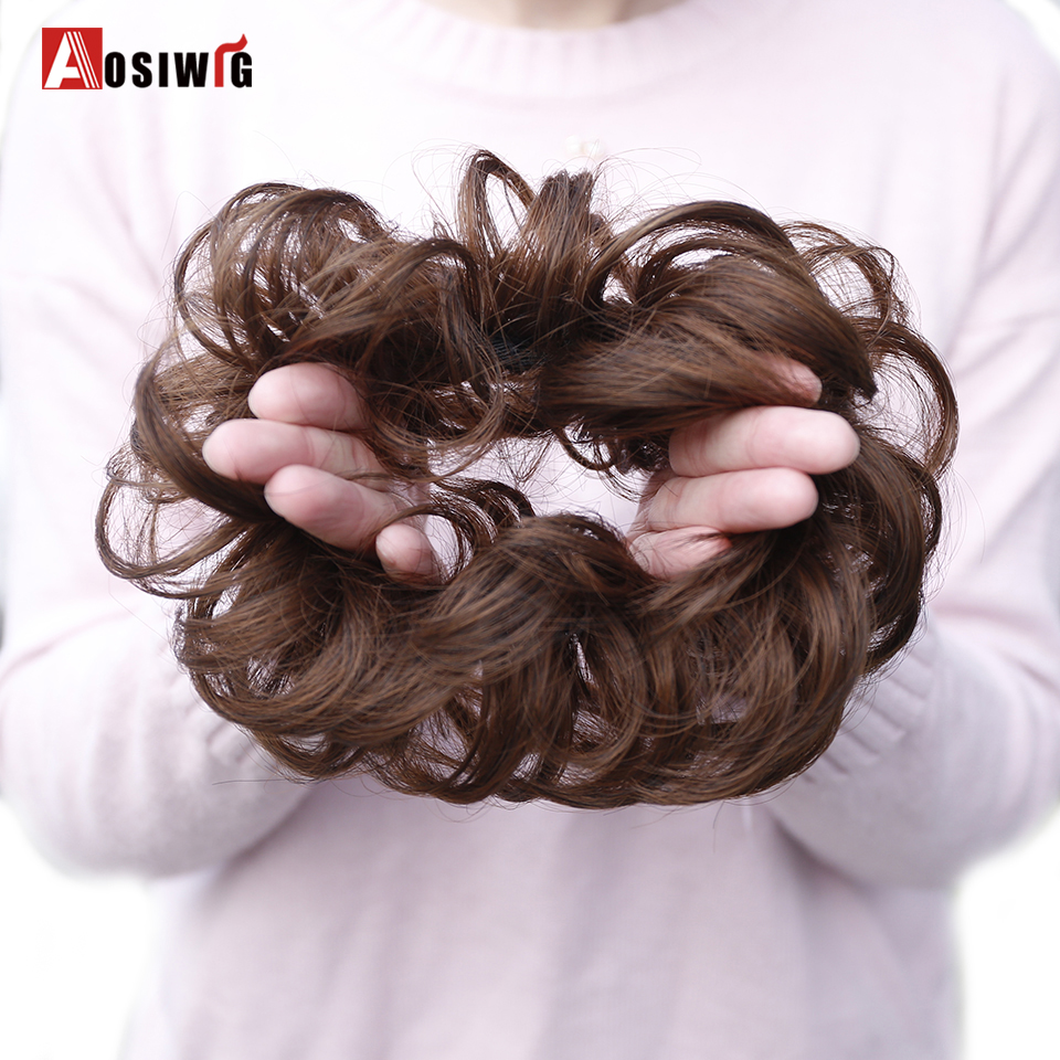 AOSIWIG Short Curly Elastic Hair Chignon Heat Resistance Synthetic Rubber Band Scrunchie Wrap Hair Tail Extension For Women