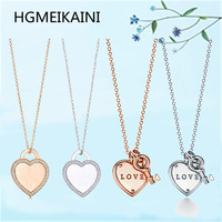 HGMEIKAINI925 % sterling silver necklace with Europe and the United States original love set zircon ms rose gold pendant gift