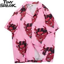 2020 Hip Hop Shirts Streetwear Mens Hawaiian Shirt Devil Head Harajuku Summer Beach Shirt Hawaii Thin Pink Tops Short Sleeve