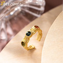 Trendy Vintage 925 Sterling Silver Gold Plated Natural Tourmaline Rings For Women Fine Jewelry Antique Gemstone Open Ring Gift