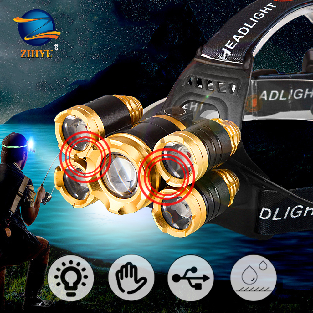 Powerful LED Headlamp Fishing Headlight  3/5 LED T6 Head Lamp with Sensor Waterproof Camping Head Torch Powered By 18650 Battery 1