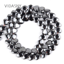 Black Love Heart Hematite Stone Natural Round Loose Beads For Jewelry Making Diy Bracelet Necklace 6*5mm 8*6mm Spacer Beads 15'' 5mm 6mm natural pietersite stone beads natural gem stone beads diy loose beads for jewelry making strand 15free shipping