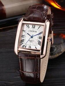 Chenxi Watches Numerals Quartz Square-Design Retro Luxury Minimalism Roman Men Women