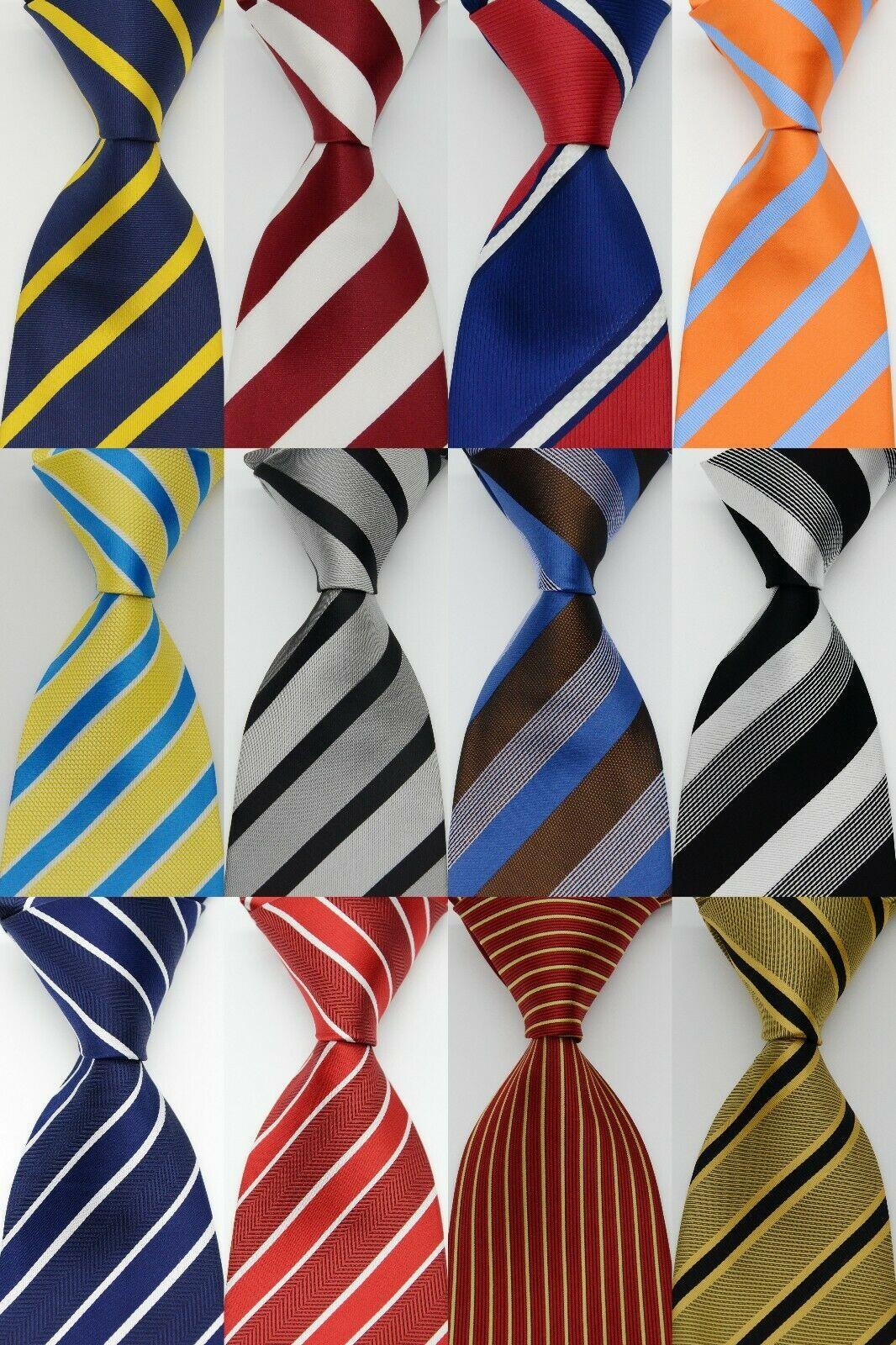 Men's Striped Tie 100% Silk 9cm Yellow Blue Red Pink Jacquard Party Wedding Woven Fashion Design Necktie