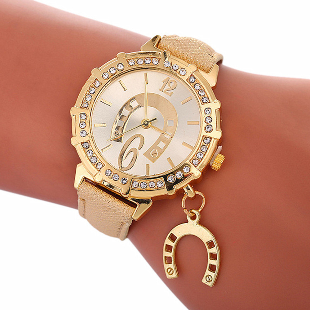 Horseshoe Accessories Women's Watch Flash Strap Watch Luxury Brand Quartz Watch Bracelet Watch  Gifts For Women