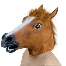 Horse Head Halloween Mask Latex Animal Creepy Cosplay  Costume Theater Prank Crazy Party Decor