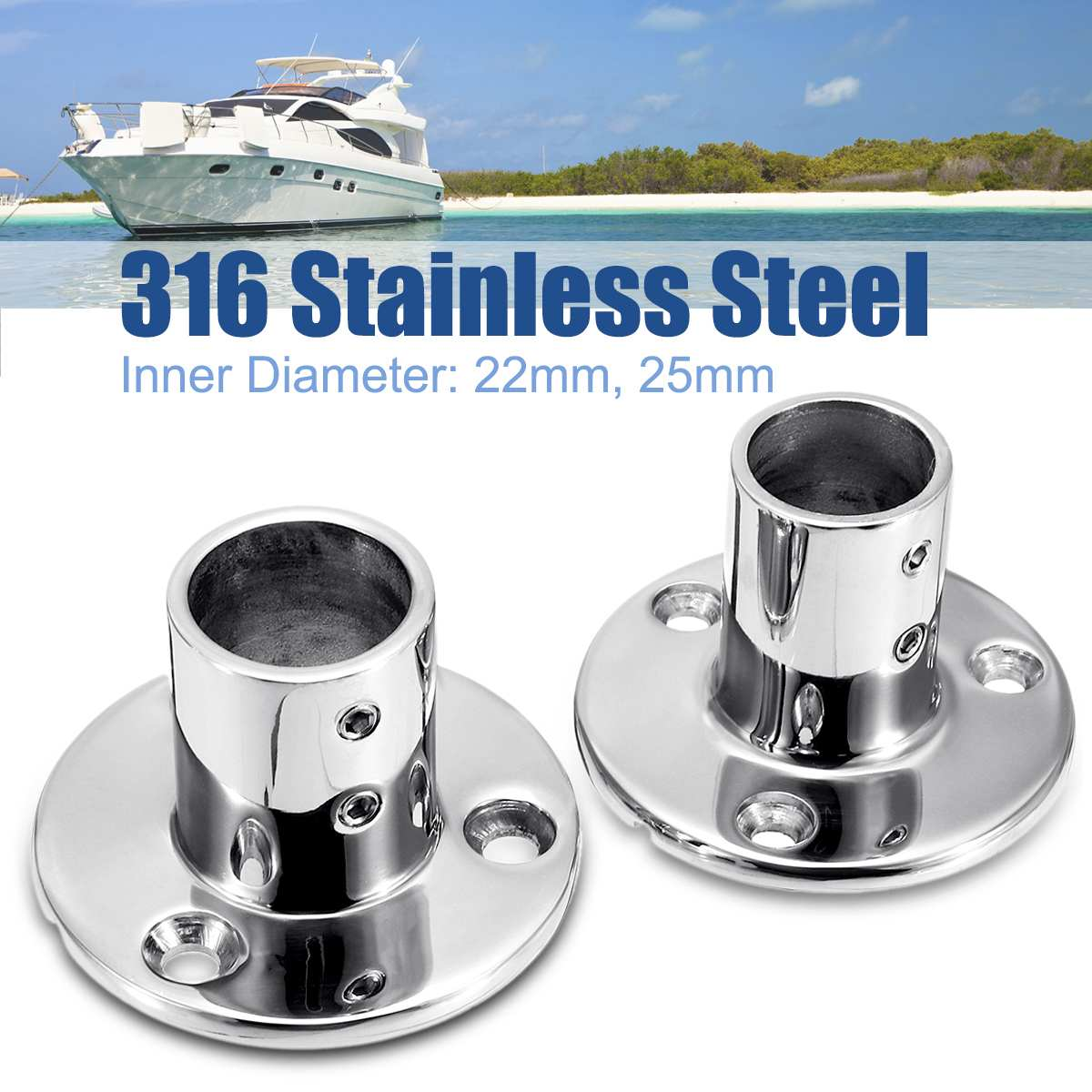 316 Stainless Steel Boat Tube Pipe Base Marine 90° Railing Handrail Pipe Base Fitting Support Durable Rust-resistant Reusable