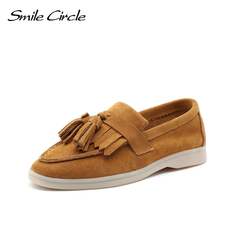 Pre-sale Shipped In February Smile Circle Women Slip On Flats Platform Shoes Fashion Tassel Decoration Casual Ladies Lazy Shoes