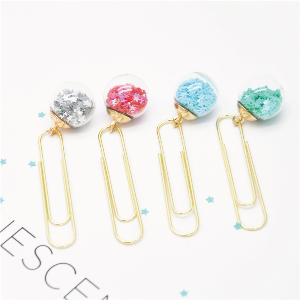 3pcs Cute Creative Sequins Metal Office School Paper Clips Bookmark Fine Student Memo Clips Set Stationery Supplies