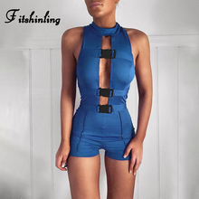 цена на Fitshinling Cut Out Buckle Short Rompers Women Jumpsuit Sleeveless Summer Athleisure Fitness Playsuits Blue Casual Jumpsuits New