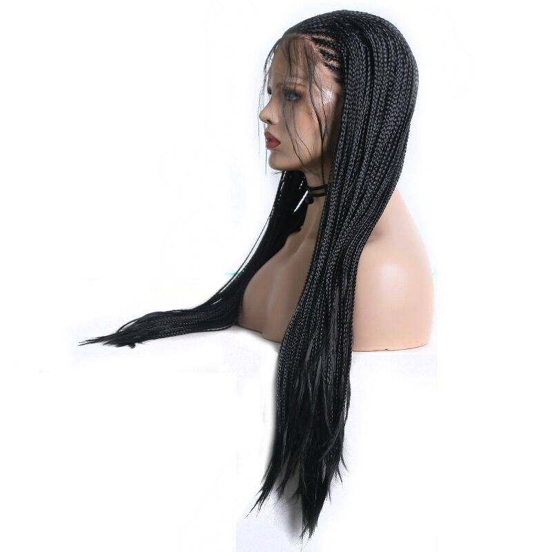 cabelo preto peruca dianteira do laço sintético