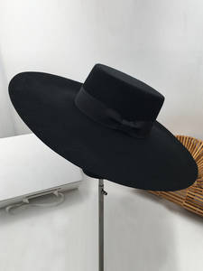 New Retro Style Big Warm Wide Brim Wool Fedora Hat Black Felt Hat Bow Flat Floppy Winter