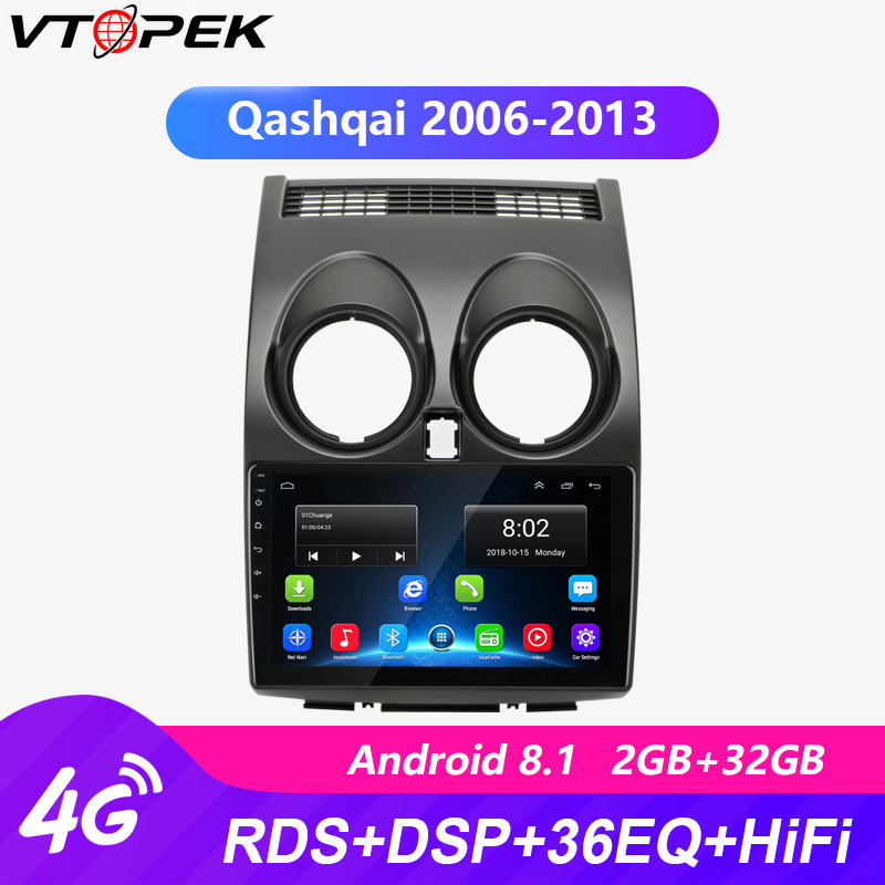 Vtopek 9 дюймов 2G + 32G 4G + WiFi Android 8,1 автомобильный Радио Мультимедиа Видео плеер навигация GPS для Nissan Qashqai 2006 2013 2 Din Dvd|Мультимедиаплеер для авто|   | АлиЭкспресс