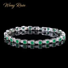 Cocktail-Bracelet Bangle Charm Emerald Gemstone Fine-Jewelry Vintage 100%925-Sterling-Silver