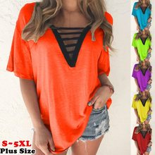 2020 European and American women's V-neck short-sleeved T-shirt summer multicolor plus size top
