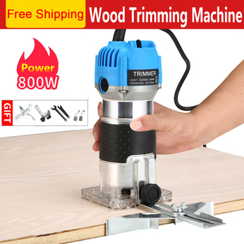 800W Woodworking Electric Trimmer Wood Milling Engraving Slotting Trimming Machine Carving Router - discount item  40% OFF Woodworking Machinery