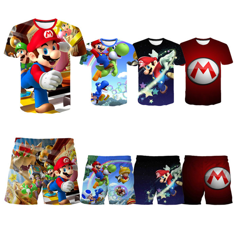 Cartoon Mario-Bros Tshirts Baby Boys Short pants Kids Clothes Boy short pants Children Clothing Short Sleeve Girls Tops Tee Kids