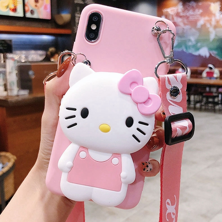 Cute Cartoon 3D Silicone Storage bag Phone Case For iPhone X XR Xs Max 6 6s 7 8 Plus Rubber Cover For Samsung S8 S9 S10 Note 8 9