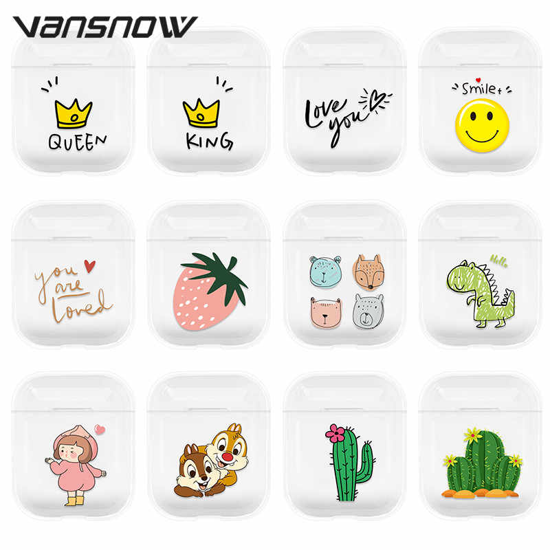For AirPods Case Transparent Silicone Cartoon Wireless Bluetooth Charging Box Cases for Airpods 2 / 1 Air Pods Case Cover