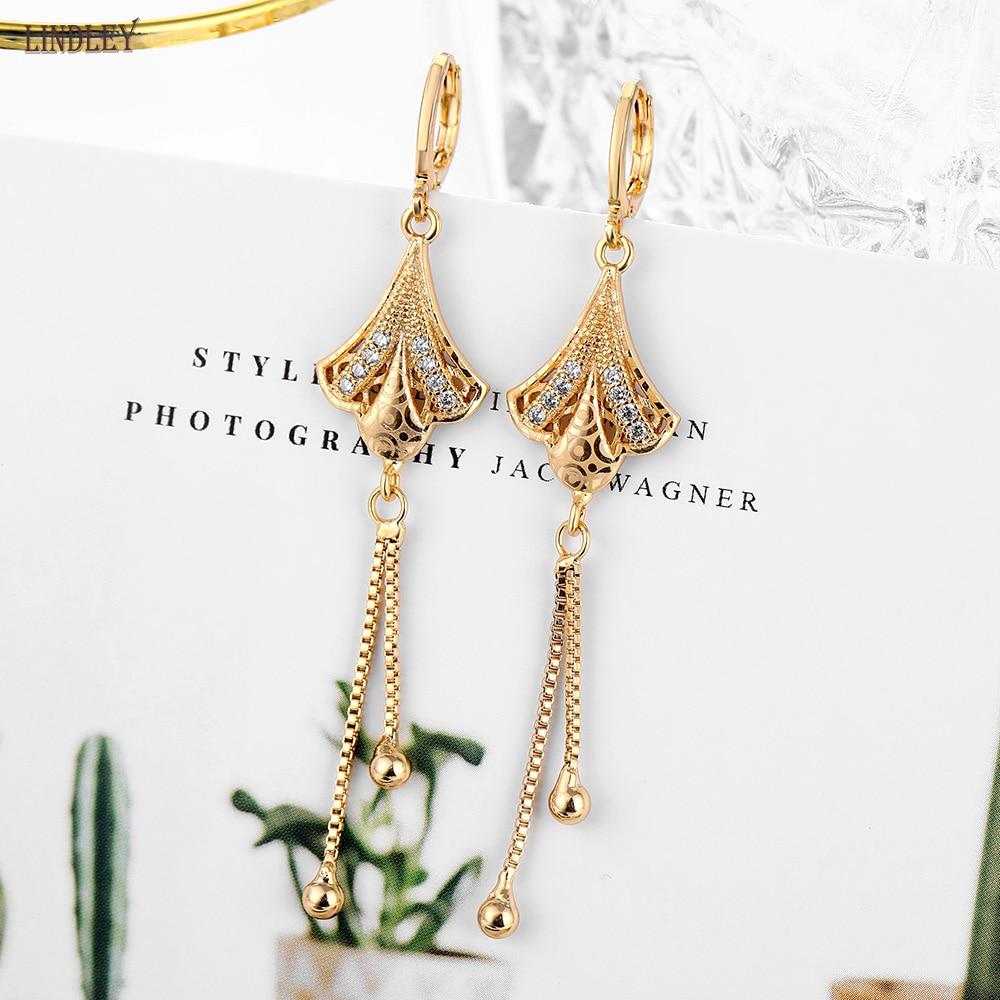 Женские винтажные серьги с кисточками LINDLEY 2020, длинные серьги из розового золота 585 пробы с цирконием, модные ювелирные украшения для вечеринок|Серьги-подвески|   | АлиЭкспресс
