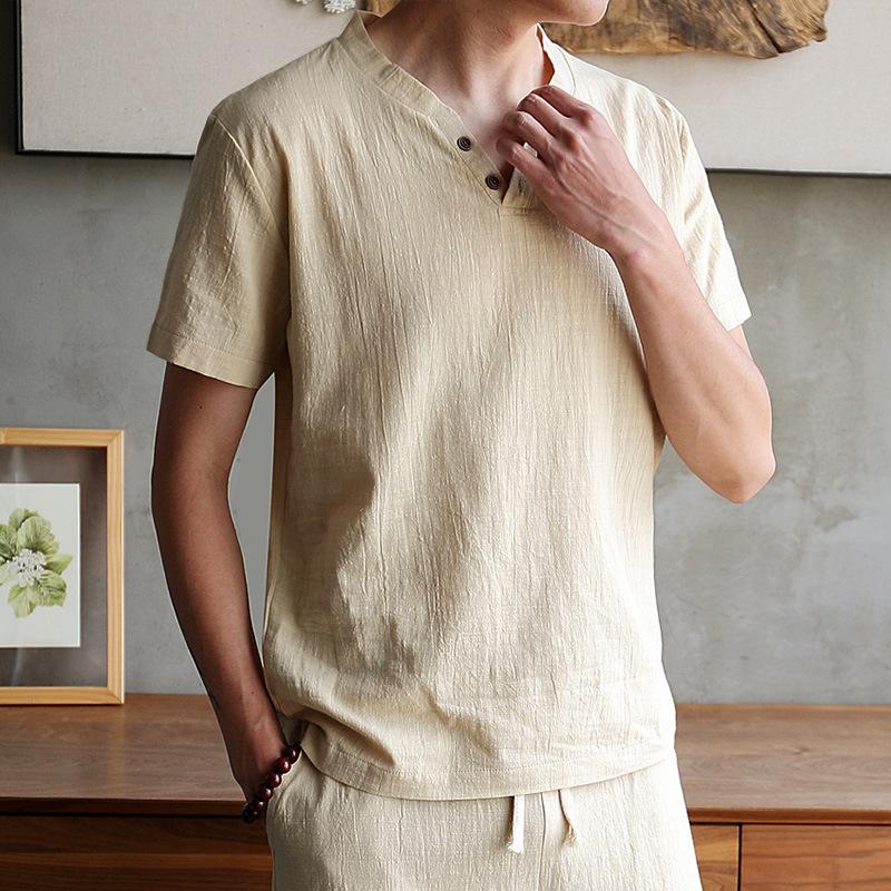 Explosion Short-sleeved Men's Linen T-shirt Summer Solid Color Loose Fashion Simple V-neck Cotton And Linen Men's Clothing