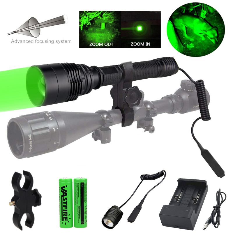 10000 Lumens T6 Super Bright Weapon Light Tactical Airsoft Armas Hunting Flashlight+Rifle Scope Mount+18650+USB Charger+Switch