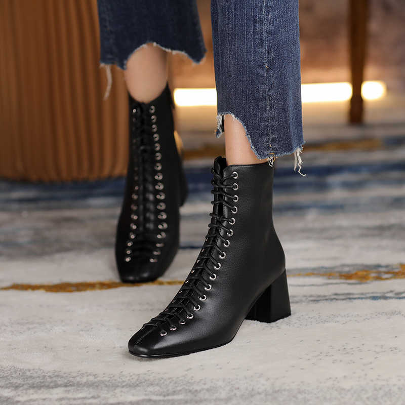 VERCONAS Nữ Thời Trang Mắt Cá Chân Giày Nam Da Thật Cao cấp Chính Hãng Da Handmade Thu Đông Giày Chéo Buộc Giày Cao Gót Giày Người Phụ Nữ